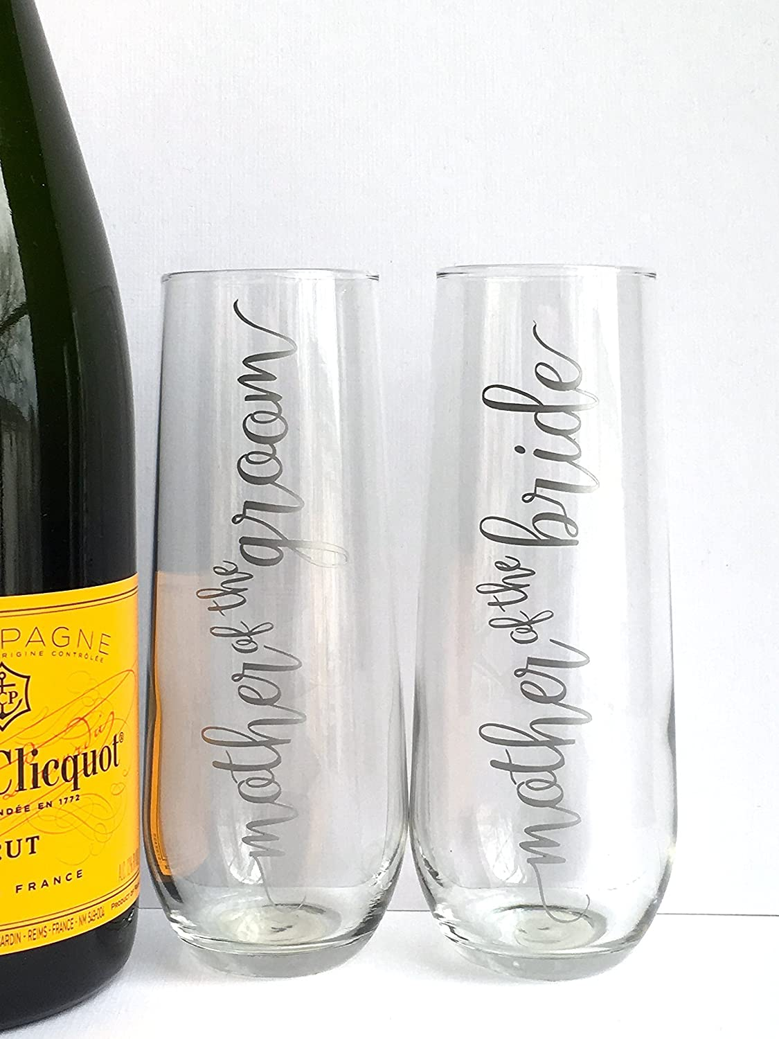 Personalized Champagne Flutes for the Bridal Party - Bridesmaid - Maid of Honor - Bride - Mother of the Groom and Bride