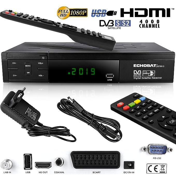 Echosat 20700 S - Aktualisierter Digitaler Satelliten Receiver (HDTV, DVB-S/S2, HDMI, SCART, 2x USB 2.0, Full HD 1080p) (Vorp