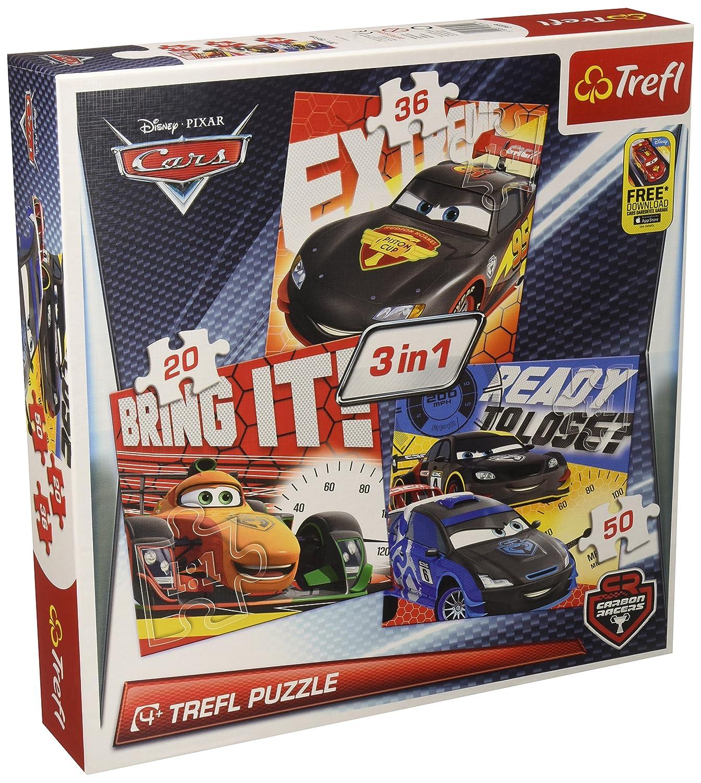 Trefl–34819–Puzzle 3in1–Cars