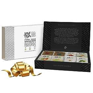 Jaf Tea - Tea Sampler Gift Set Box, 80 COUNT - 8 Tea Variety Pack - Including: Black Tea, Green Tea, Earl Grey, Fruit Teas, Peppermint Tea - 80 Tea Bags (10 of each)