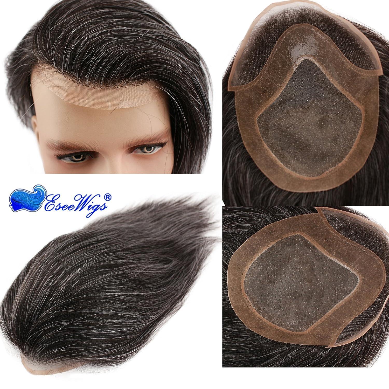 Eseewigs Tupé de cabello humano para hombres con gorra de ...