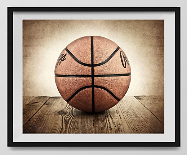 Amazon.com: Vintage Basketball on Vintage Background Fine Art ...