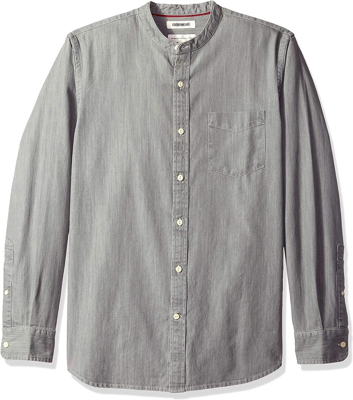Camisa vaquera de manga larga cuello en banda y corte est/ándar para hombre Marca Goodthreads