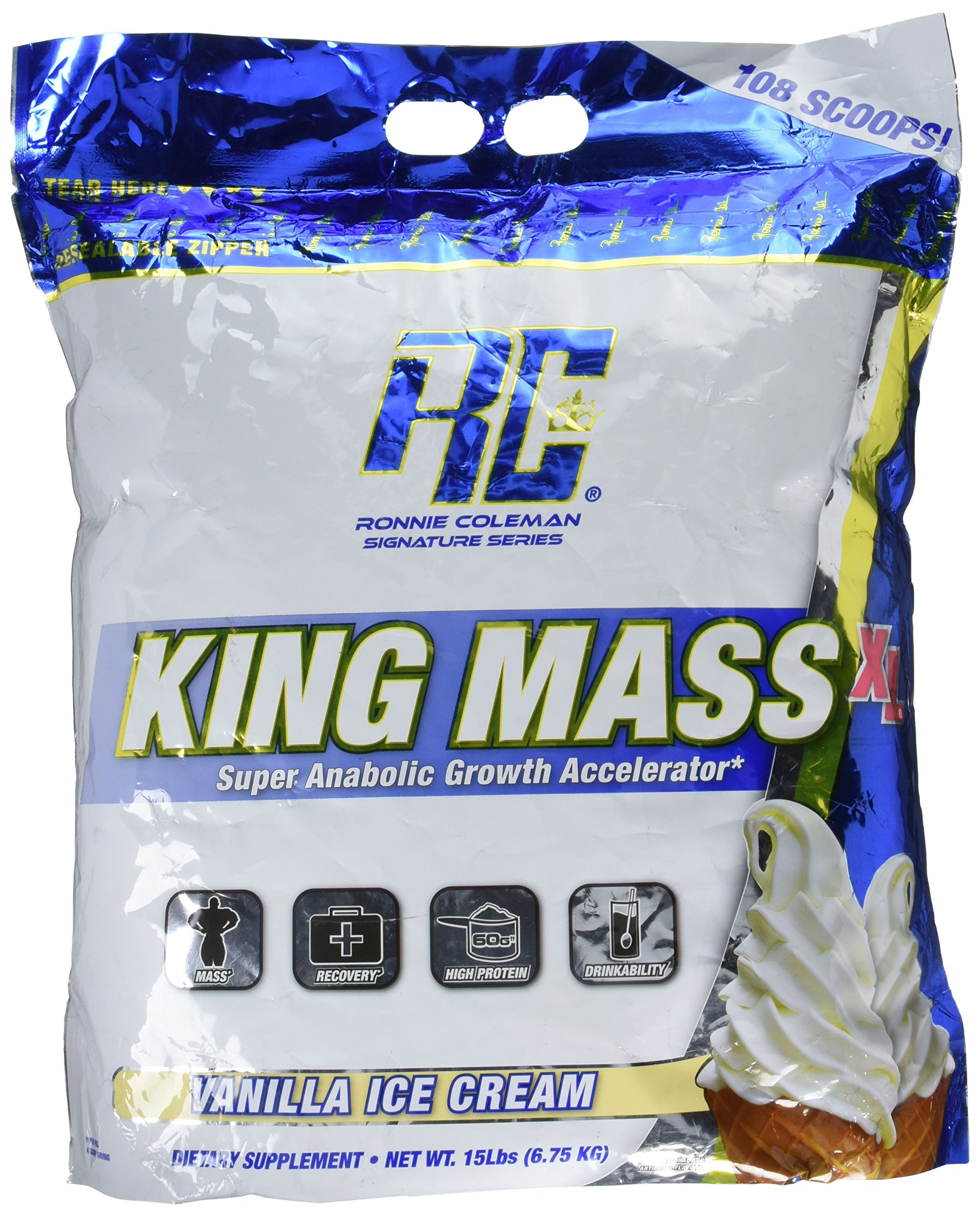 Ronnie Coleman Signature Series, King Mass-XL Super Anabolic Growth Accelerator, Vanilla Ice Cream, 15 Pound