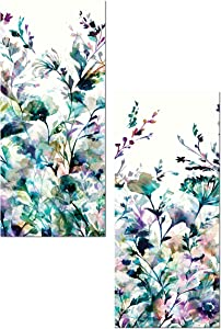 Stunning Teal and Purple Abstract Floral Panel Set by Wild Apple Portfolio; Two 8x18in Unframed Paper Posters