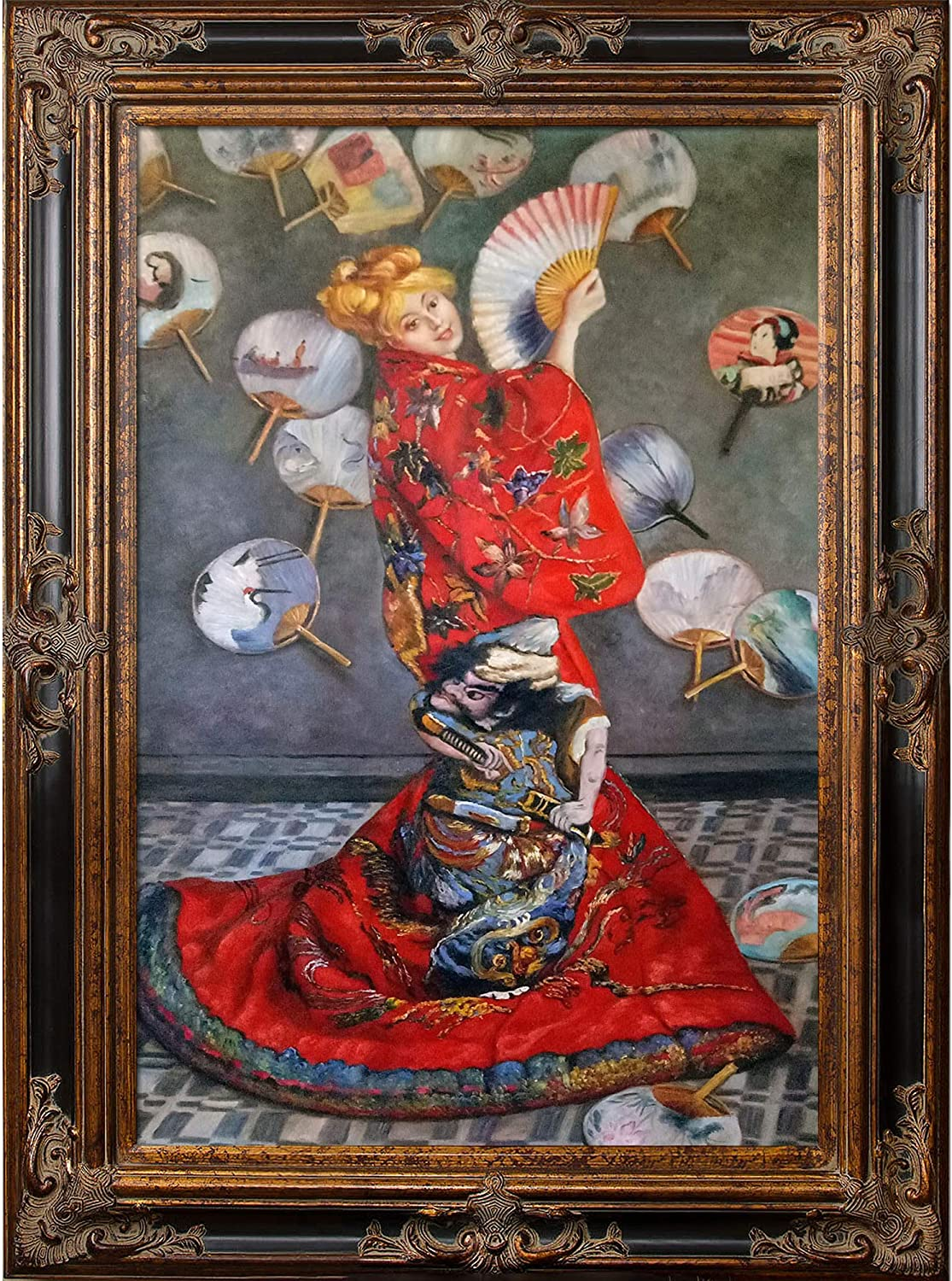 Japanese Costume Oil Paint By Claude Monet Reproduction Print Framed Canvas