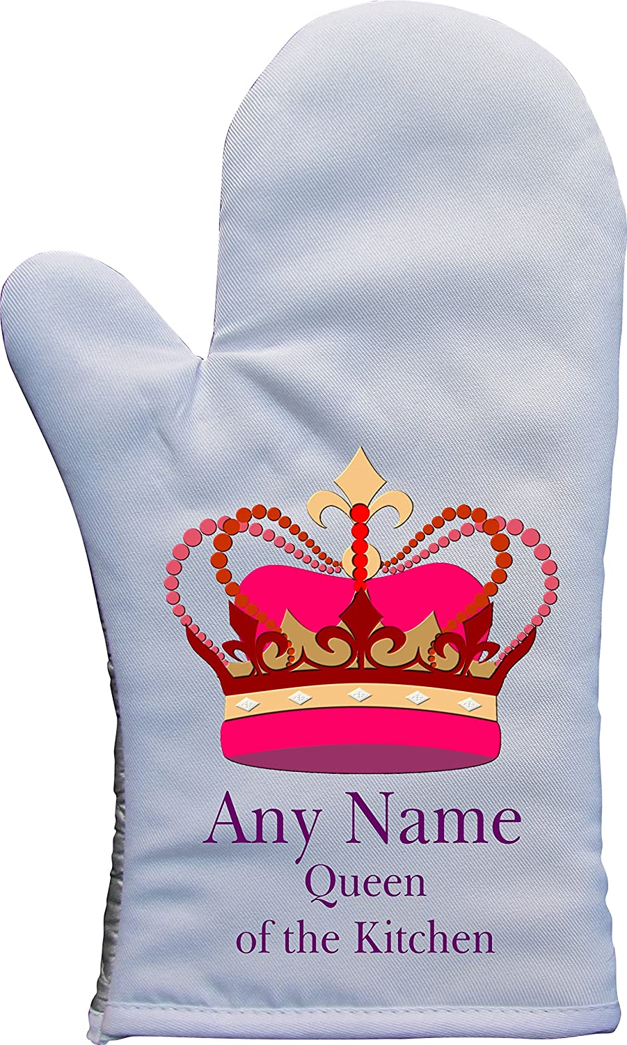 PERSONALISED QUEEN OF THE KITCHEN PRINT TEFLON COATED OVEN MITT OVEN GLOVE PRESENT2FUTURE