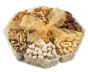 Farm Fresh Nuts Holiday Gourmet Nuts Gift Tray, Birthday, Family Parties & Movie Night, Freshly Roasted Nut Tray, Gourmet Corporate Gift Platter, 7-Section, Healthy Assortment, 1 Lb