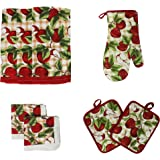 J U0026 M Home Fashions 8 Piece Printed Kitchen Towel Set, Red Apples