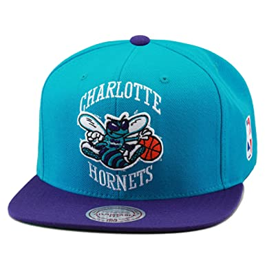 new product 9ce2c 03672 Image Unavailable. Image not available for. Color  NBA Mitchell   Ness  Charlotte Hornets XL Logo Two Tone Snapback Hat ...