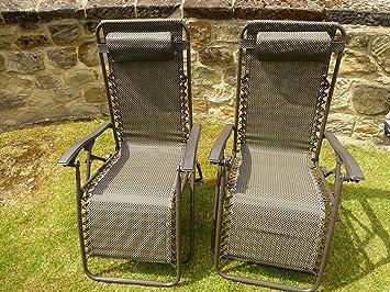set of 2 brown garden sun lounger relaxer recliner garden chairs
