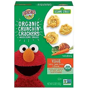 Earth's Best Organic Sesame Street Toddler Crunchin' Crackers, Veggie, 5.3 Oz Box (Pack of 6)