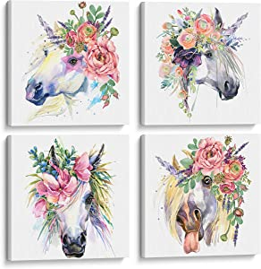Something Unicorn - Stretched/Framed, Ready to Hang Canvas Wall Art for Girl's Bedroom. Super Cute Water Color Unicorn Prints for Teens or Girls Bedroom Decor. Set of 4. 12x12in - Floral Unicorn