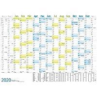 Wandkalender 2020 groß: 89 cm x 63 cm (größer als A1) für 15 Monate Nov 2019 - Jan 2021| Wandplaner gefalzt mit Ferien- und Feiertage-Übersicht, nachhaltiges Papier + extra A4-Kalender