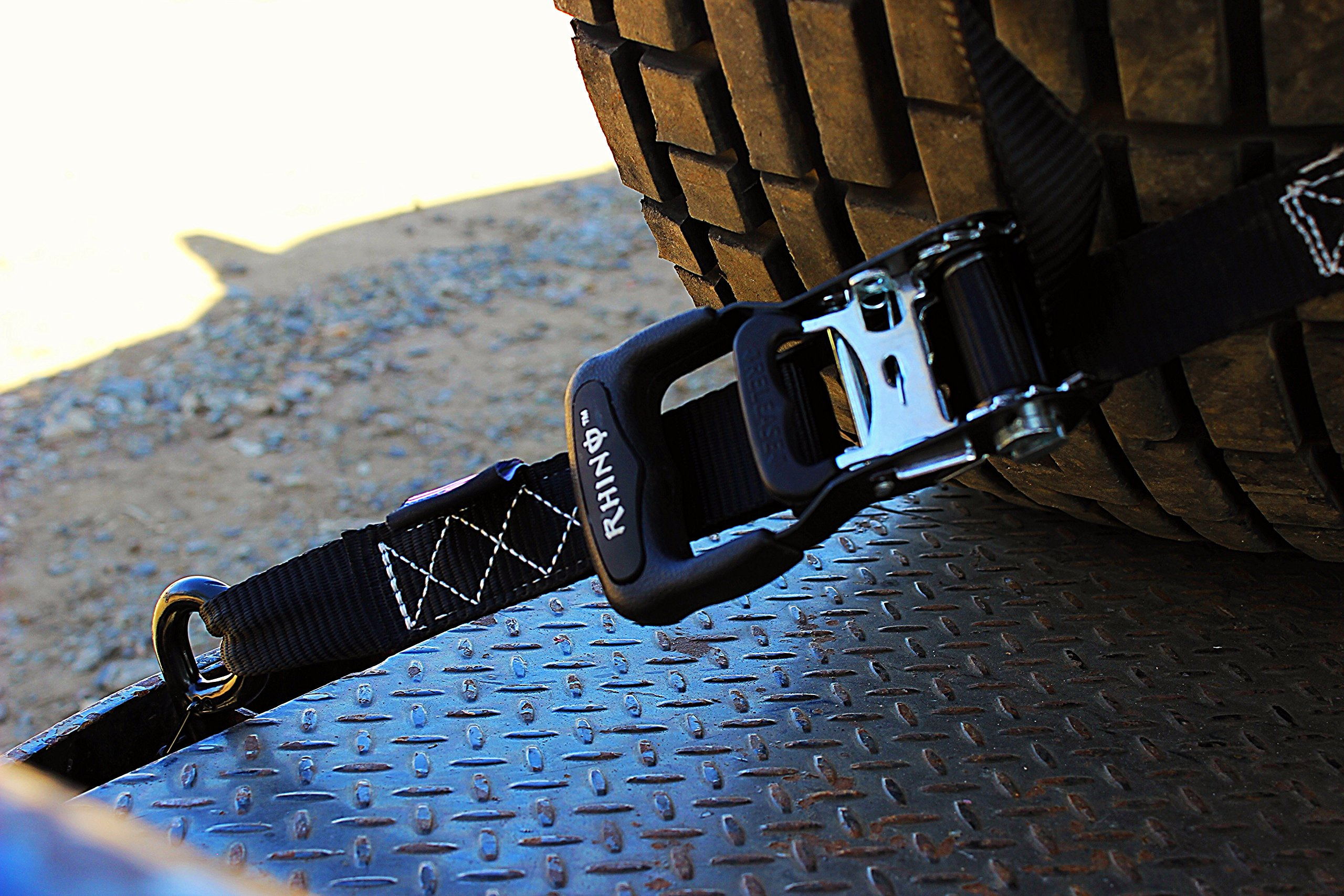 RHINO USA Ratchet Straps Motorcycle Tie Down Kit, 5,208 Break Strength - Includes (2) Heavy Duty 1.6'' x 8' Rachet Tiedowns with Padded Handles & Coated Chromoly S Hooks + (2) Soft Loop Tie-Downs… by Rhino USA (Image #3)