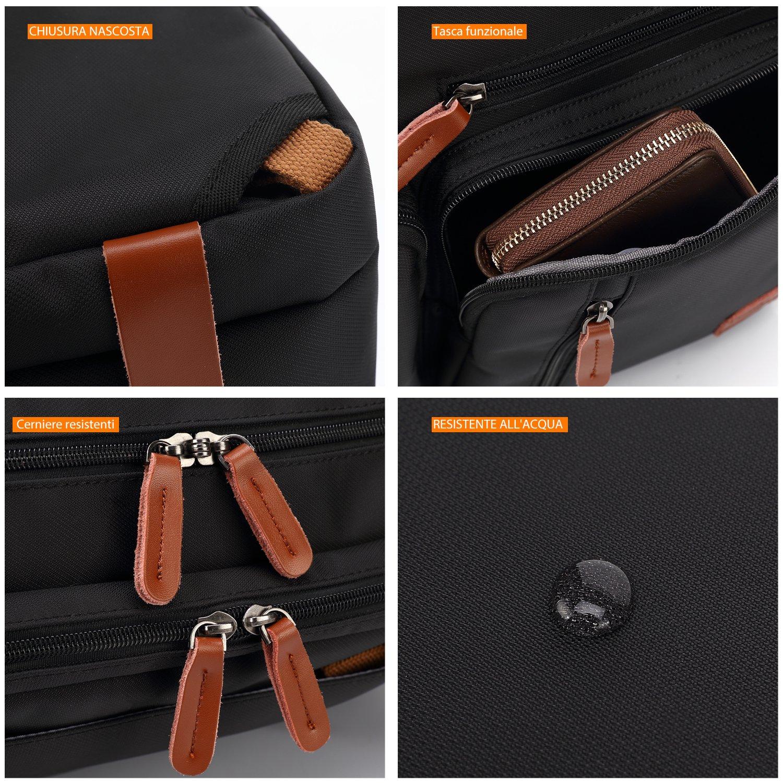 CoolBELL Sac de voyage multifonction convertible avec poign/ée et bandouli/ère pour ordinateur portable Inch 17,3 Noir