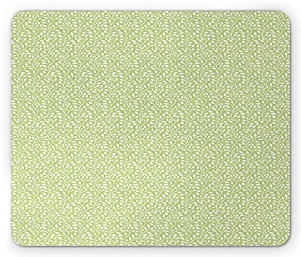 Green And White Mouse Pad By Monochrome Leaf Silhouette On A Pastel Background Spring Season
