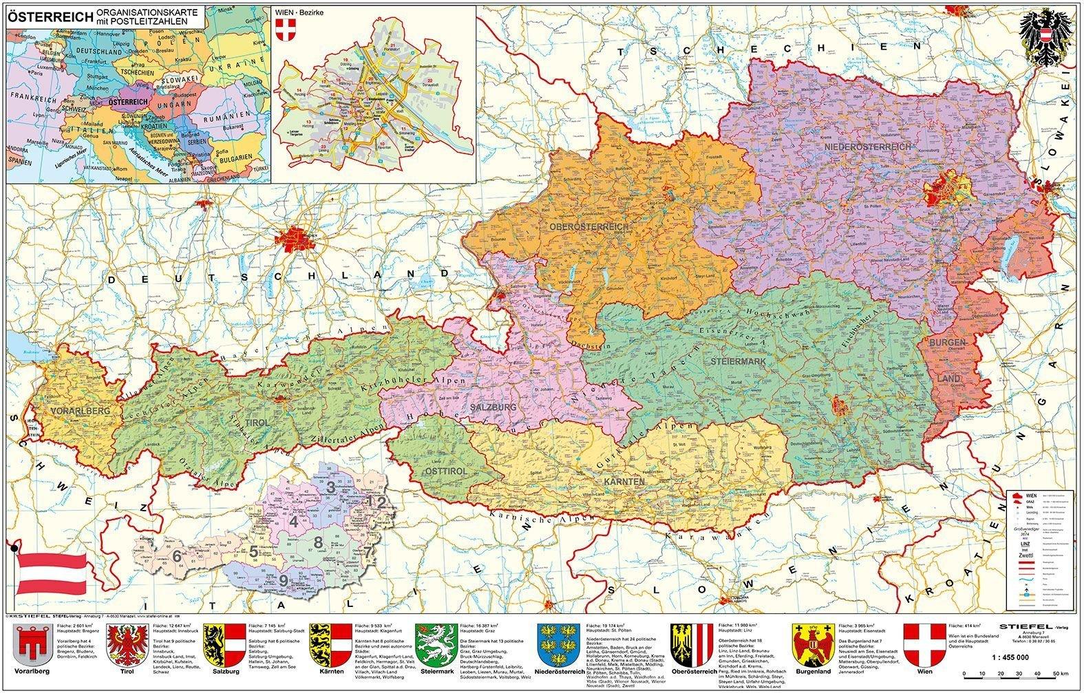 Osterreich Politisch Plz Und Organisationskarte Wandkarte
