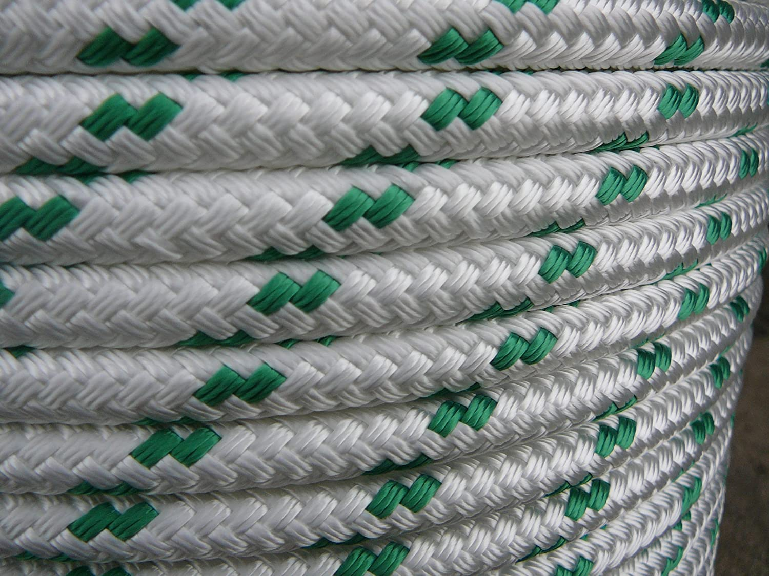 Double Braid Polyester line 7//16x150 ft yacht braid green tracer halyard sheet