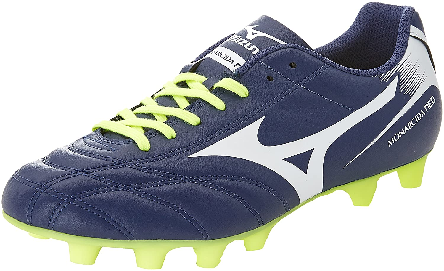 Mizuno Herren Monarcida Neo MD Fuszlig;ballschuhe  42 EU|Blu (Blue Depths/White/Safety Yellow)