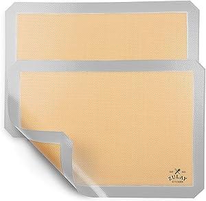 """Zulay Kitchen (2 Pack) Silicone Baking Mat Sheet Set - Reusable Baking Mat Nonstick - Half Sheet Baking Mat For Oven (Size 16.5"""" x 11.6"""") - Light Gray"""