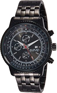 August Steiner Mens AS8162 Black Multifunction Quartz Watch Month, Day, and GMT Dial Stainless