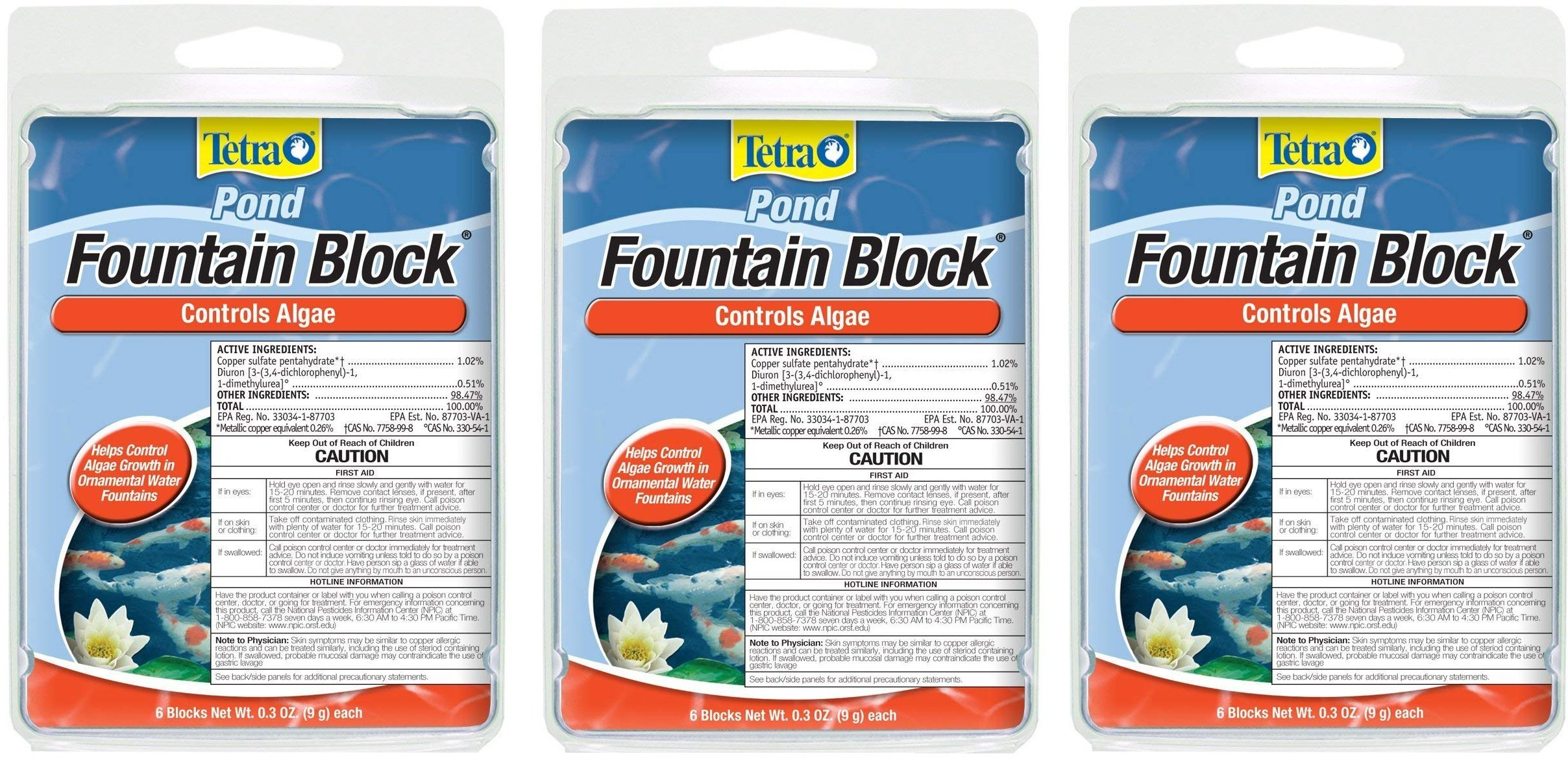 Tetra Pond Anti-Algae Control Blocks for Fountains, 6-Count (3-Pack)