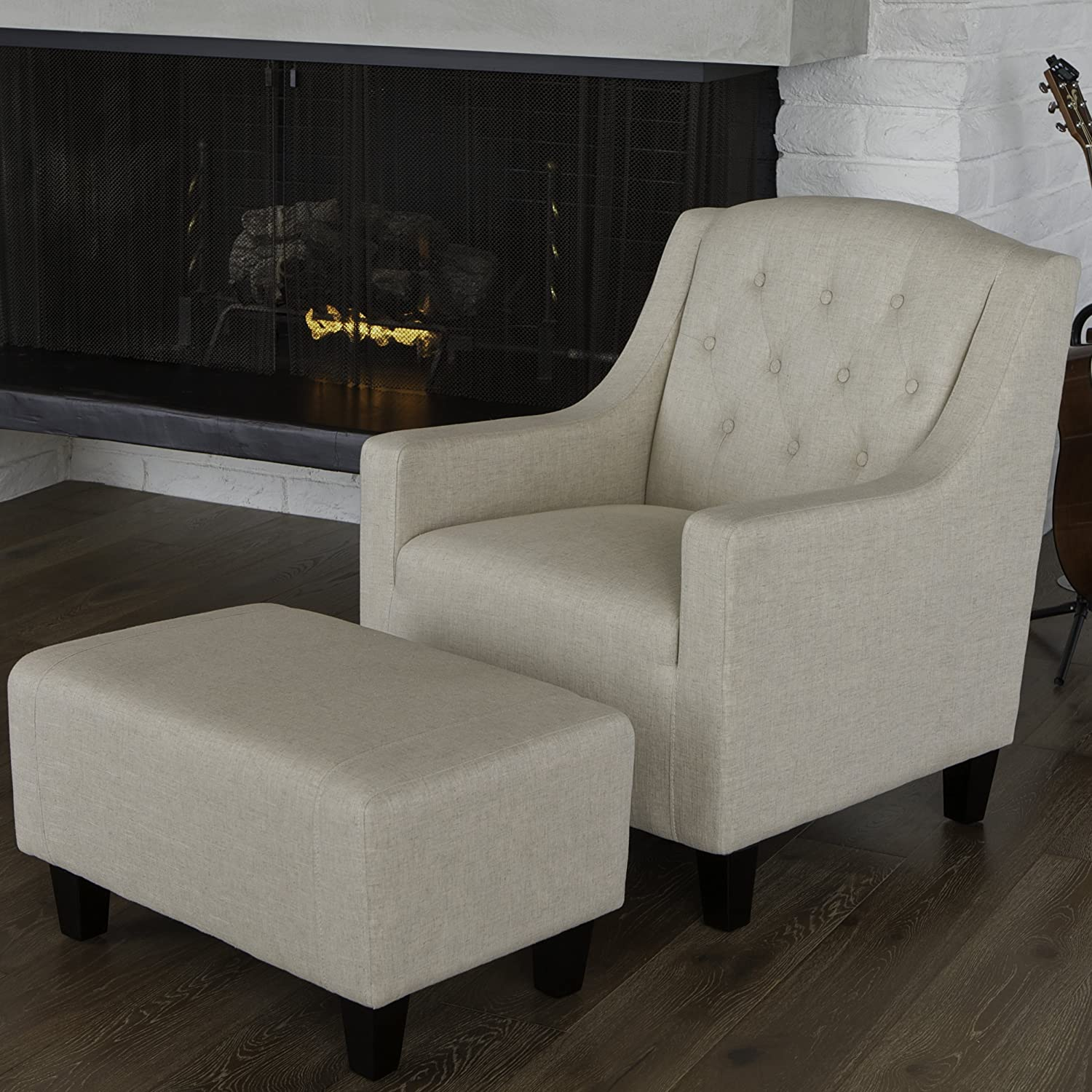 Amazon Empierre Beige Linen Club Chair & Footstool Set