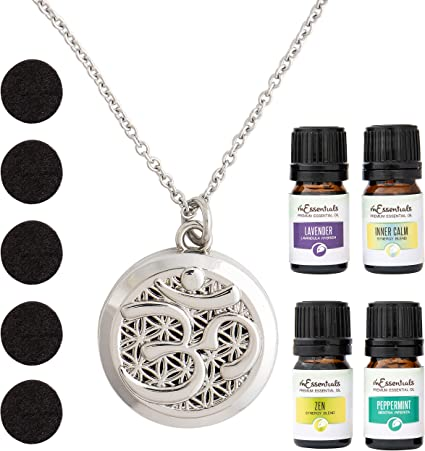 Om Symbol Essential Oil Diffuser Aromatherapy Bottle Necklace
