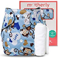 Motherly Reusable Baby Diaper with Insert Nappy Washable Cloth Diapers Nappies for Babies (Pattern-D25)