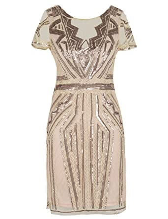8022c177 PrettyGuide Women's 1920s Dress Vintage Inspired Sequin Cocktail Flapper  Dress S Champagne Pink