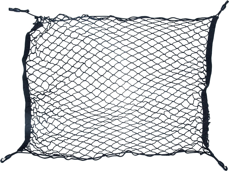 DECARETA Red de Carga para Maletero de Coche Universal con 4 Ganchos,de Nailon Ajustables y Resistentes Flexible para Organizar y Almacenar para la Mayor/ía de los SUV Cami/ón y Sed/án-100 70CM