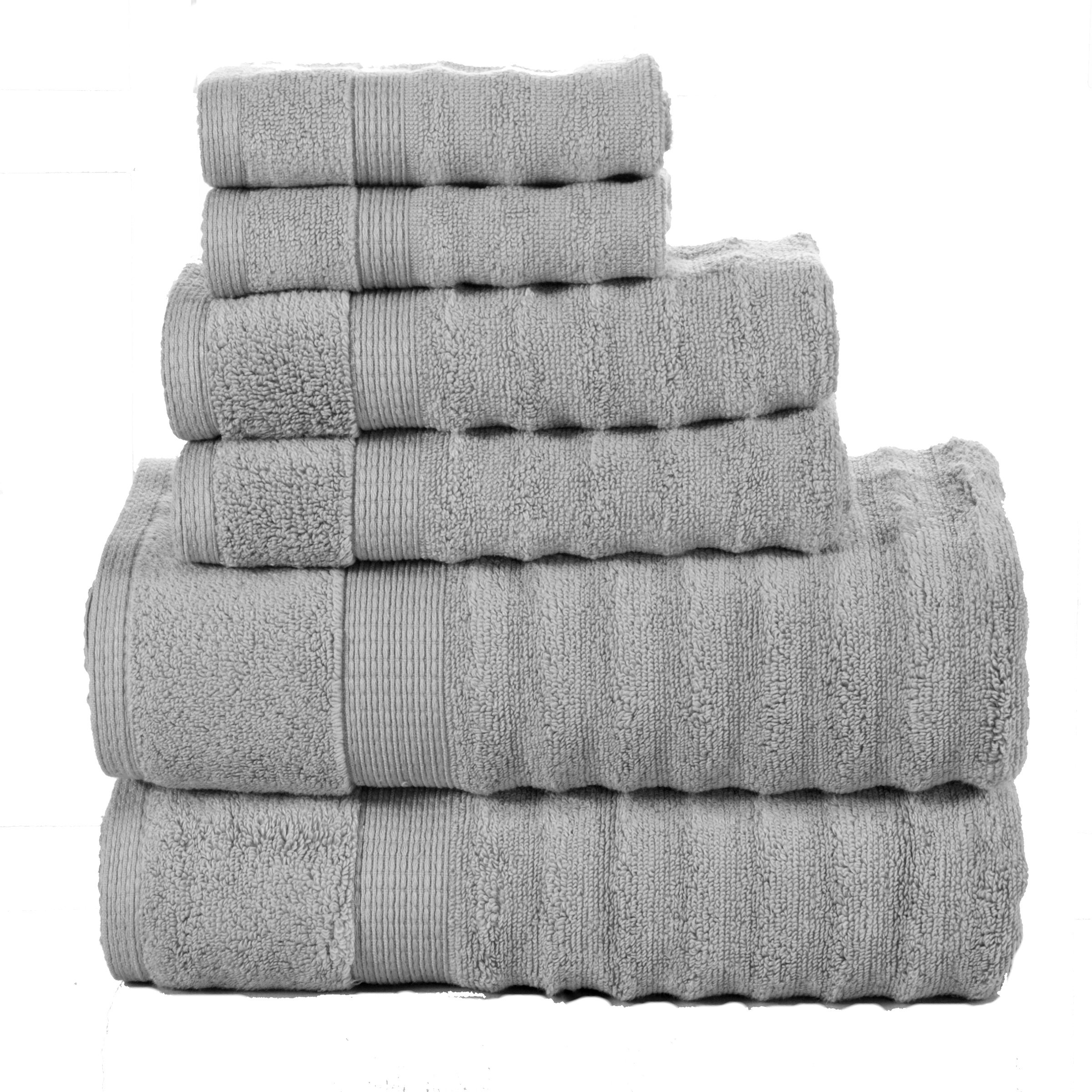 Affinity Home Collection 6 Piece Quick Dry Elegance Spa Zero Twist Cotton Ribbed Towel Set, Silver