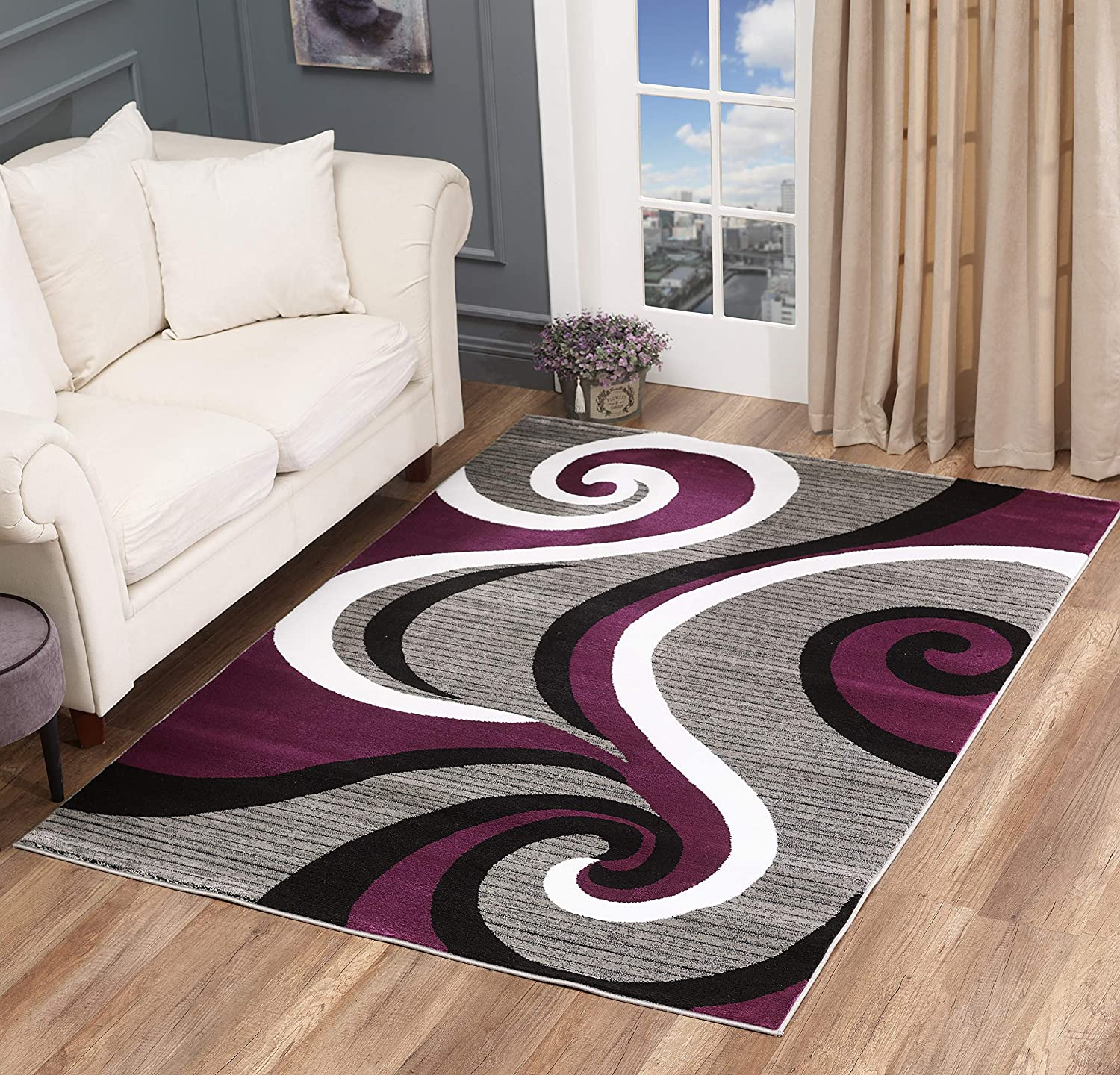 Amazon Com Glory Rugs Black Area Rug 5x7 Purple Gray Modern Carpet Bedroom Living Room Contemporary Dining Accent Sevilla Collection 4817a Purple Kitchen Dining