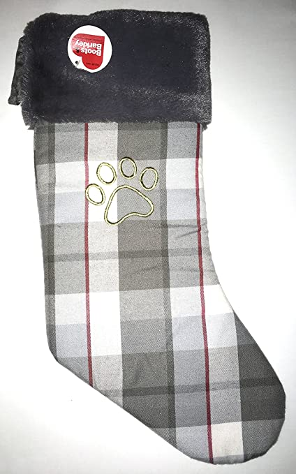 19 boots barkley gray plaid pet stocking with gold embroidered paw print super