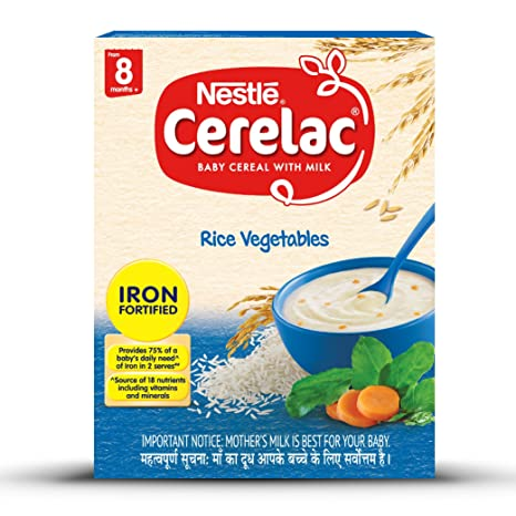 Nestlé CERELAC Fortified Baby Cereal with Milk, Rice Vegetables – From 8  Months, 300g BIB Pack