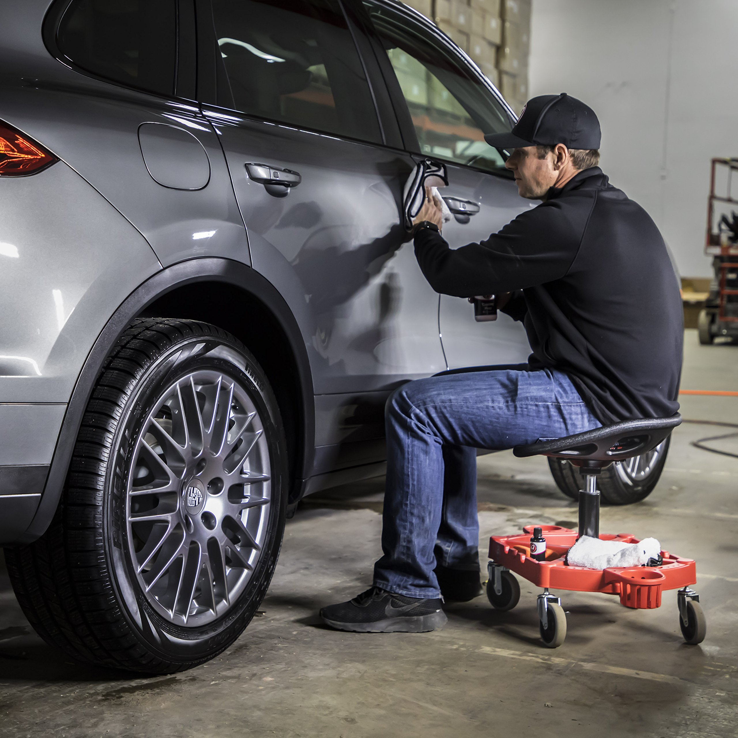 Adam's ProStool Detailing Creeper - Ergonomically Designed for Comfort and Functionality - Adjustable Height and Heavy Duty Rolling Wheels - Comfortably Detail or Paint Correct Any Vehicle by Adam's Polishes (Image #2)