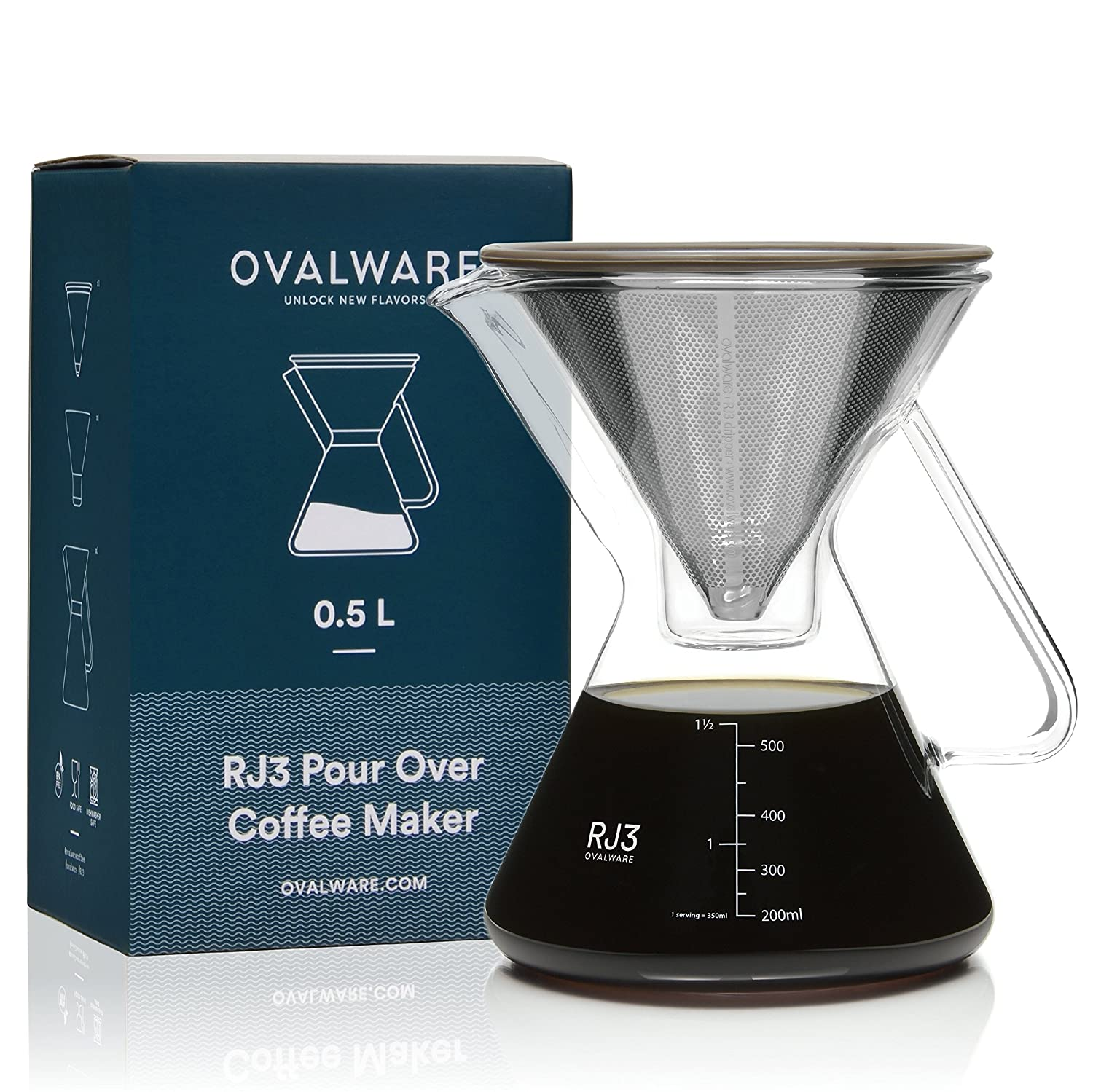 Ovalware Hand-blown Pour Over Carafe Coffee Maker 0.5L with Stainless Steel Filter and Multi-Purpose Glass Measurement Cup and Filter Stand (0.5 Liter/17 oz)