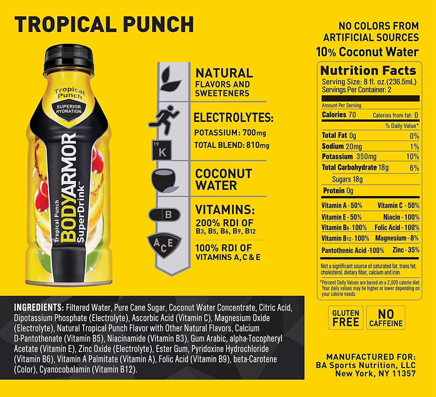 BODYARMOR Sports Drink Sports Beverage, Tropical Punch, Natural Flavor With  Vitamins,