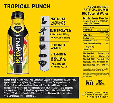 BODYARMOR Sports Drink Sports Beverage, Strawberry Banana, 16 Fl Oz (Pack  of 12), Natural
