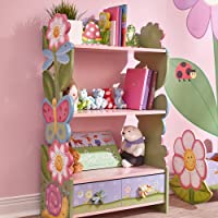 Fantasy Fields - Magic Garden Wooden 3 Shelves Kids Bookcase with Drawer Storage , Imagination Inspiring Craft & Paint , Non-Toxic, Lead-Free Water-Based Paint - Flowers Butterflies Pink