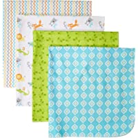 Luvable Friends Unisex Baby Cotton Flannel Receiving Blankets, ABC 4-Pack, One Size