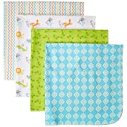 Luvable Friends 4 Piece Flannel Receiving Blanket, Alphabet, One Size