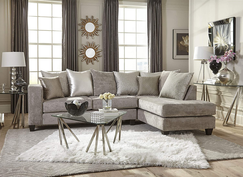 Amazon.com: Esofastore Living Room Modern Classic Beige/Gold Fabric ...
