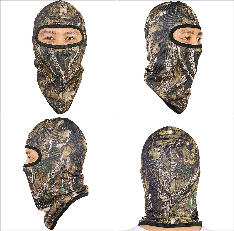 TAGVO Chasse Cagoule Sport Visage Masque Camo,Coupe-Vent Camouflage Balaclava Tactique Ninja Hood Chapeaux 3D Motif,Casque l/éger Souple Tour De Cou Unisex pour Airsoft Ext/érieur Taille Universelle