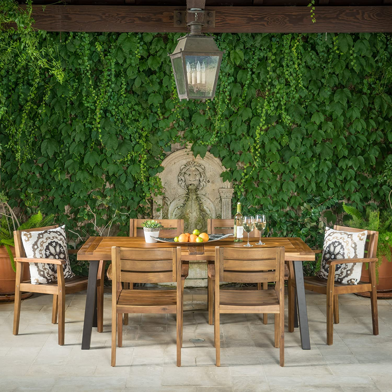 Avalon | 7 Piece Acacia Wood Dining Set with Rustic Metal Accents | Perfect for Patio | with Teak Finish