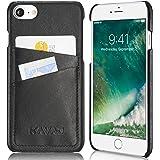 """KAVAJ iPhone 7 Hülle Leder Case Tasche """"Tokyo"""" für das iPhone 7 - Schwarz Aus Echtem Leder Mit Visitenkartenfach. Dünnes iPhone 7 Cover Etui Als Edles Zubehör Für Das Original Apple iPhone 7 (4,7"""")"""