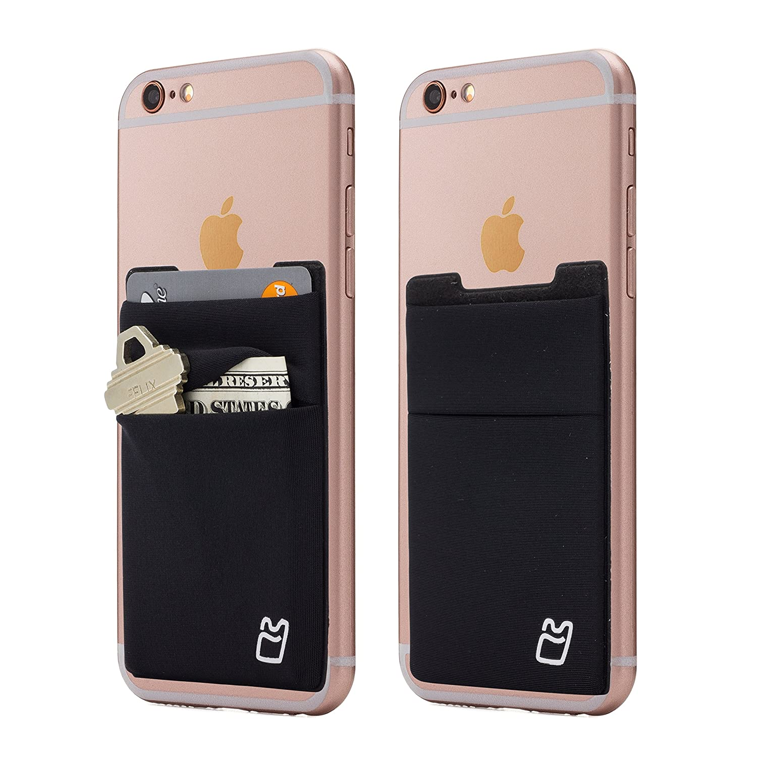 Cell Phone Card Holder >> Two Stretchy Cell Phone Stick On Wallet Card Holder Phone Pocket For Iphone Android And All Smartphones Black