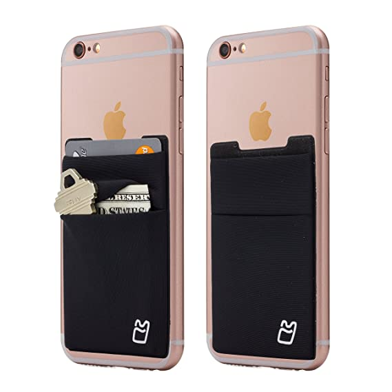 buy online 40ce0 8747b (Two) Stretchy Cell Phone Stick on Wallet Card Holder Phone Pocket for  iPhone, Android and All Smartphones. (Black)