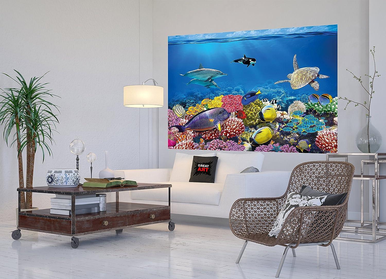 Tapiz de foto Acuario Mural Decoración Mundo submarino colorido Criaturas marinas Océano Peces Delfín Arrecife de coral Pez payaso I foto-mural foto póster ...
